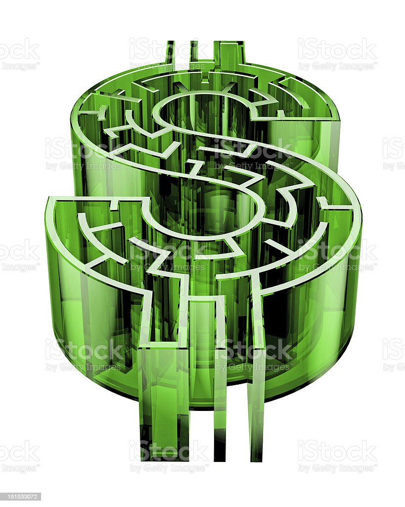Dollar Sign Maze royalty-free stock photo