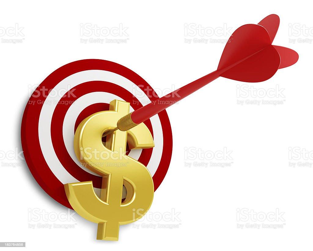 Dollar Sign on Bull's Eye stock photo