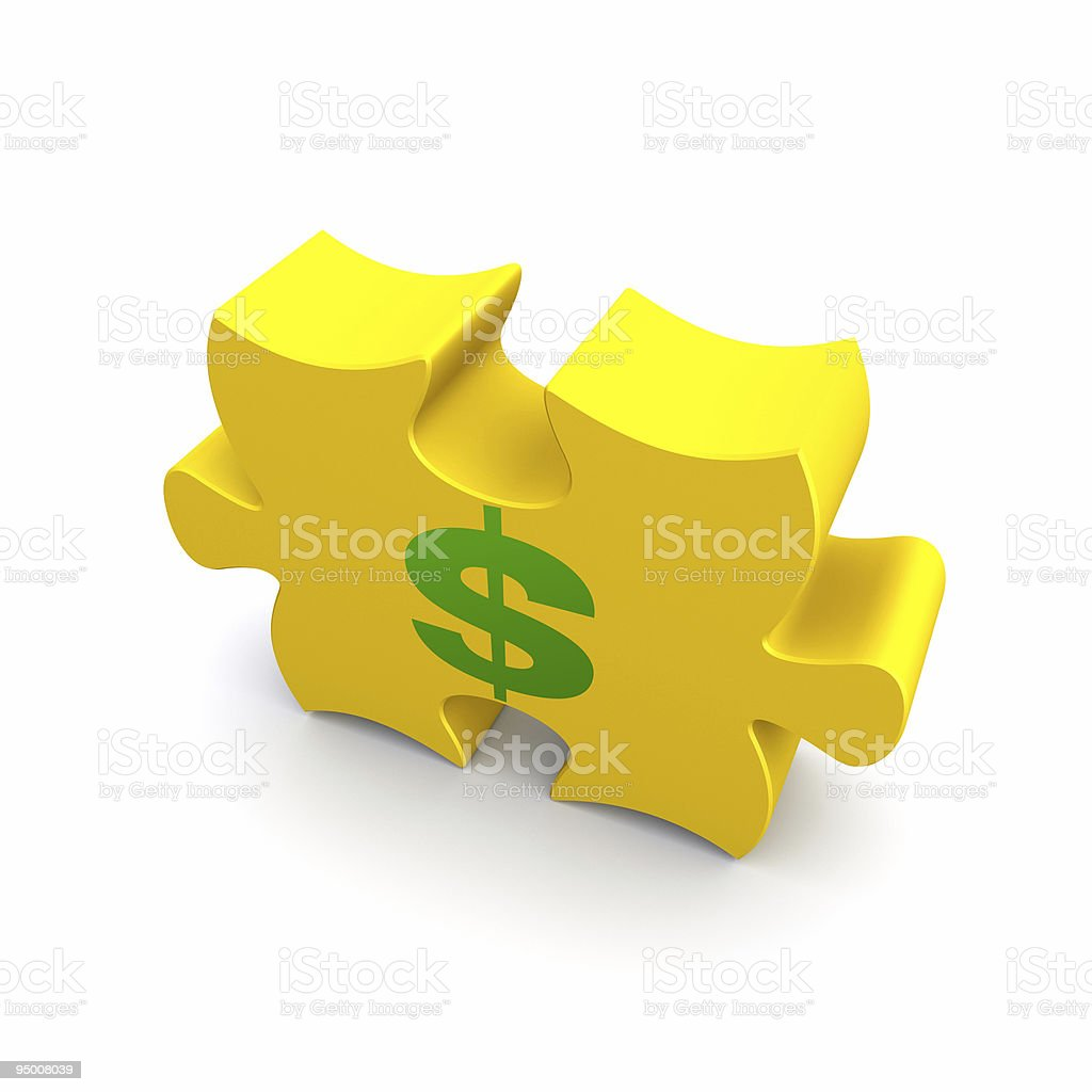 Dollar Sign Puzzle Piece stock photo