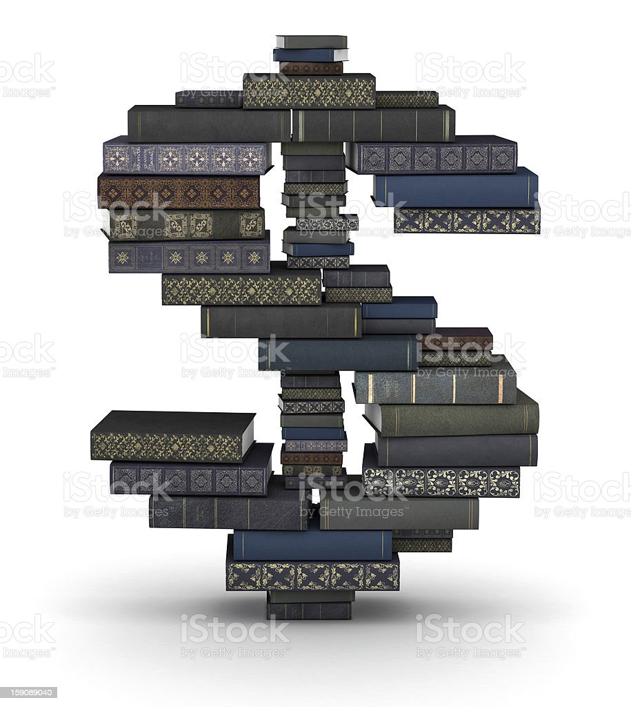Dollar sign , stack of books royalty-free stock photo