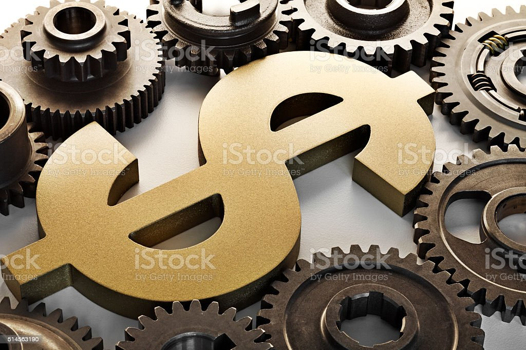 Dollar Sign Surrounded By Gears stock photo