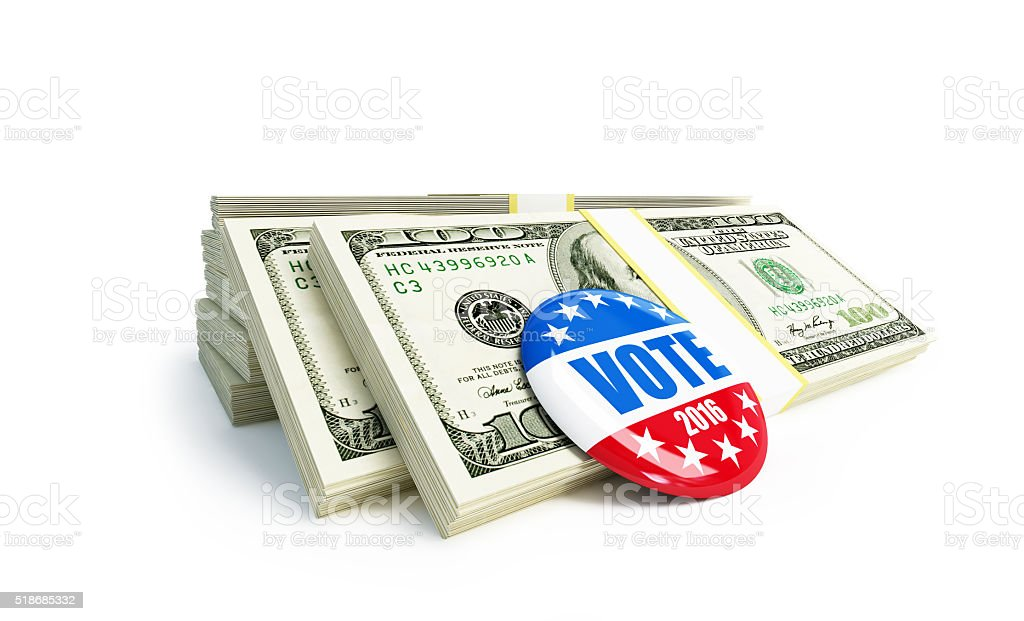 dollar sign vote USA 2016 badge stock photo