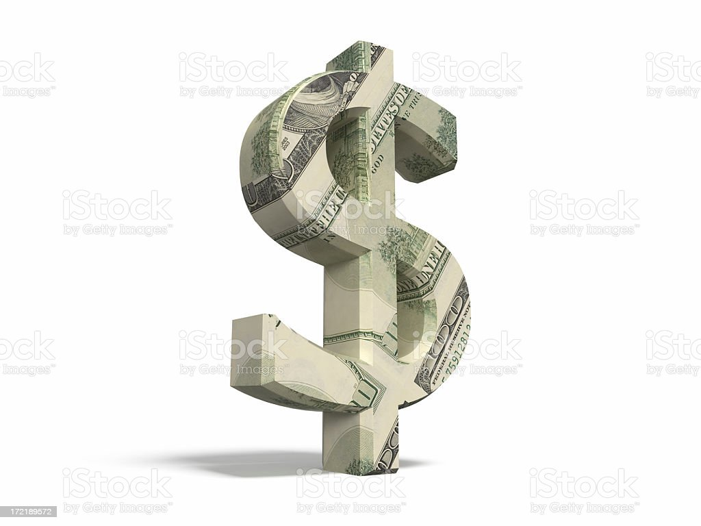 Dollar Sign with Clipping Path royalty-free stock photo