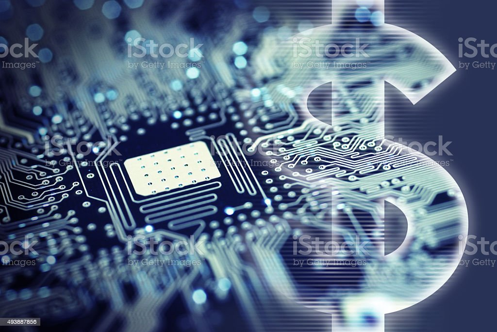 Dollar Sign with Computer Circuit Board stock photo