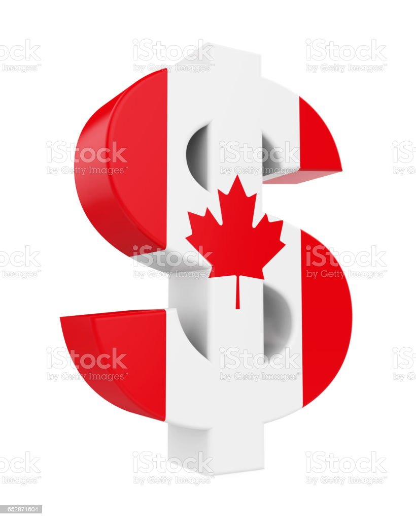 Dollar Sign with Flag of Canada stock photo