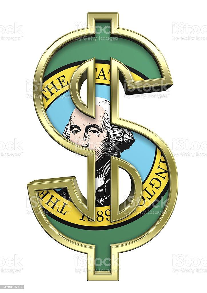 Dollar sign with Washington flag isolated on white. royalty-free stock photo