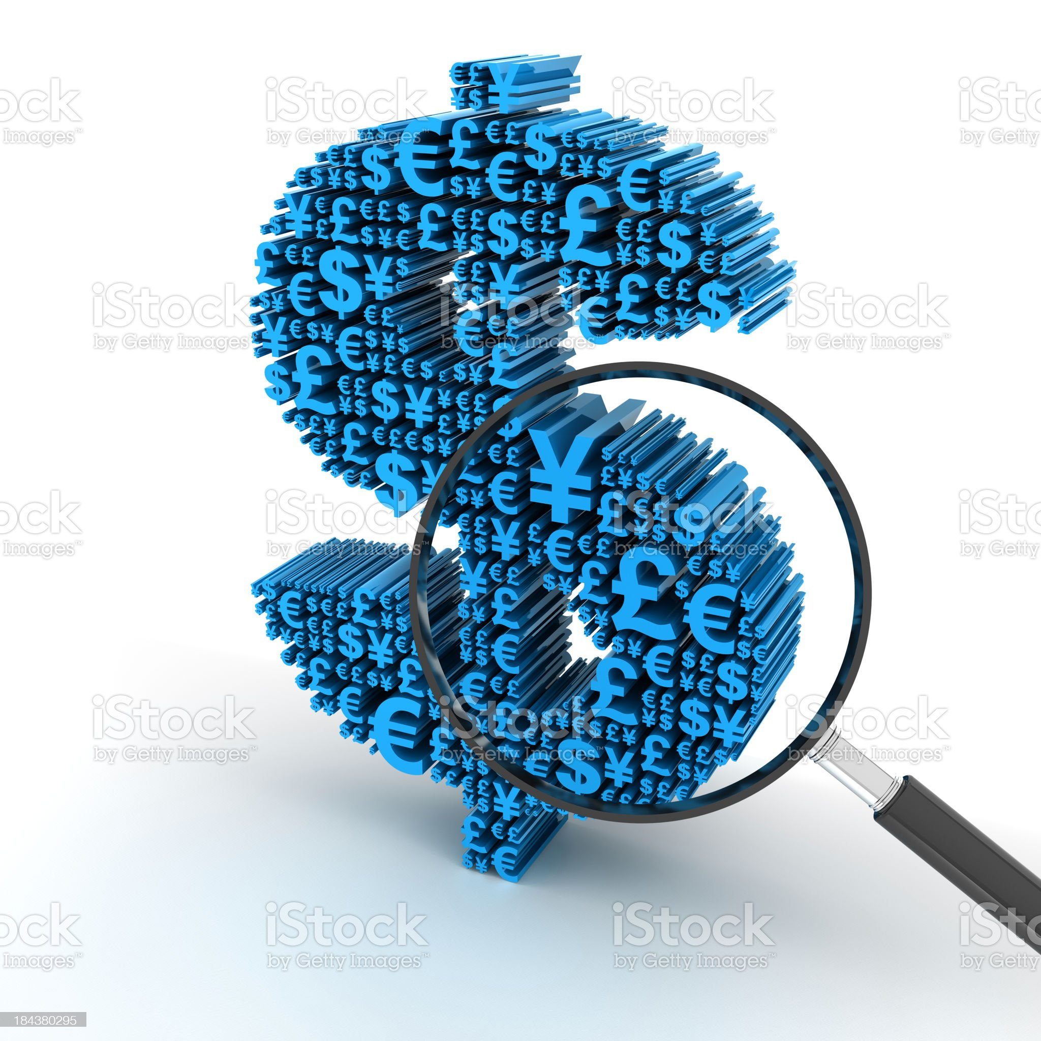 Dollar signs formed by major currency symbols, with magnifying glass royalty-free stock photo