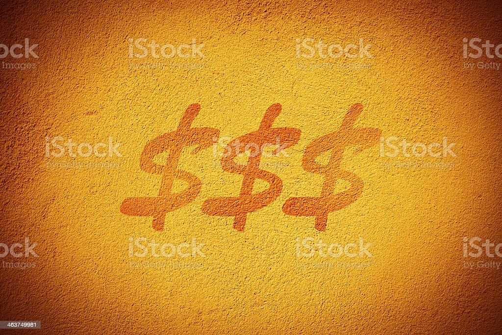 Dollar signs on the wall royalty-free stock photo
