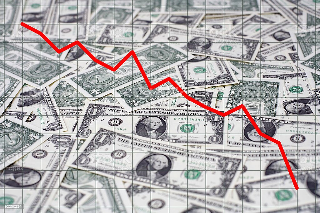 US Dollar Slide Graph - Economy Heading For Recession stock photo