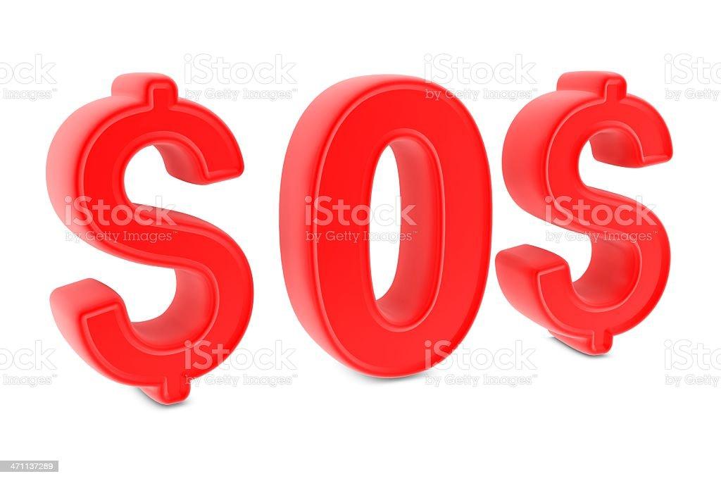 Dollar - SOS royalty-free stock photo