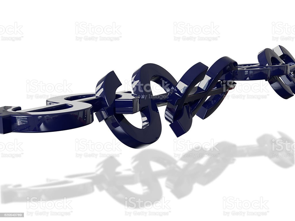 Dollar Stability Chain 3D Concept Blue Reflection stock photo