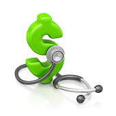 dollar symbol and stethoscope