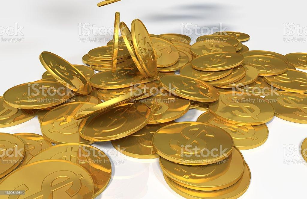 Dollar Symbol Golden Coins Dropping stock photo