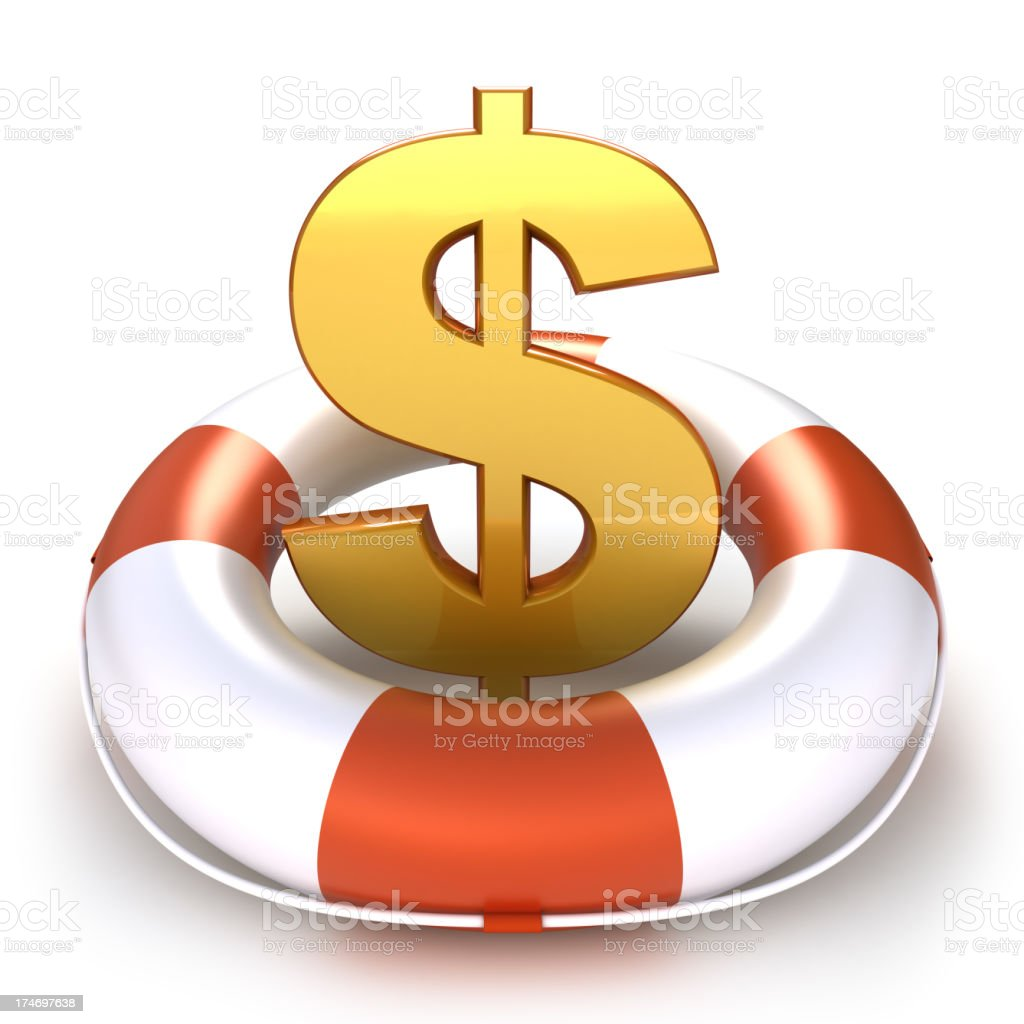 Dollar symbol in lifebuoy - isolated with clipping path royalty-free stock photo