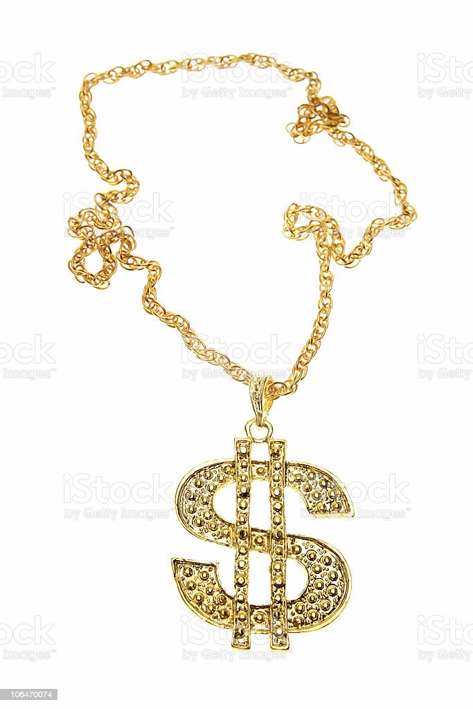 Dollar symbol necklace stock photo