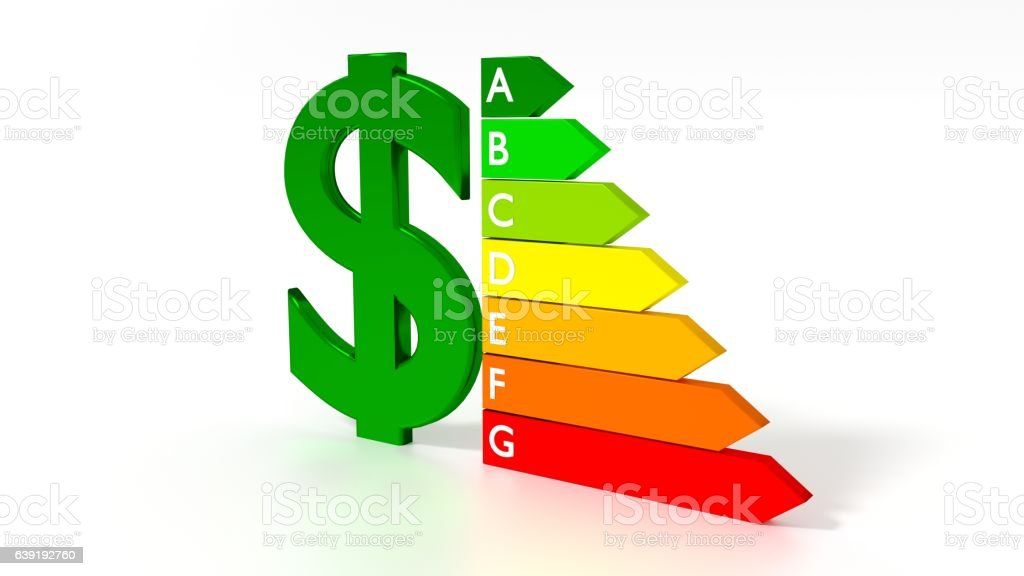 Dollar symbol next to an energy efficiency graph stock photo