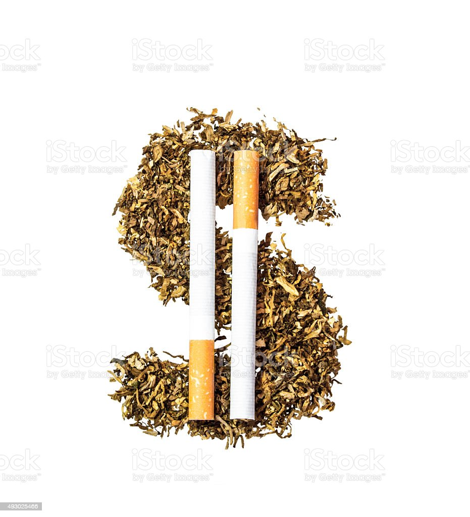 Dollar symbol of the tobacco leaves and two whole cigarettes stock photo