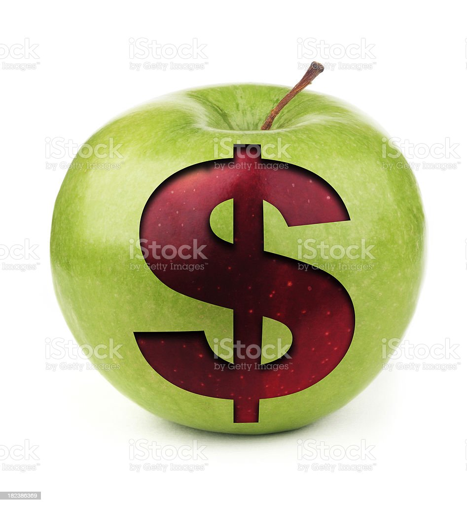 Dollar Symbol on Apple stock photo