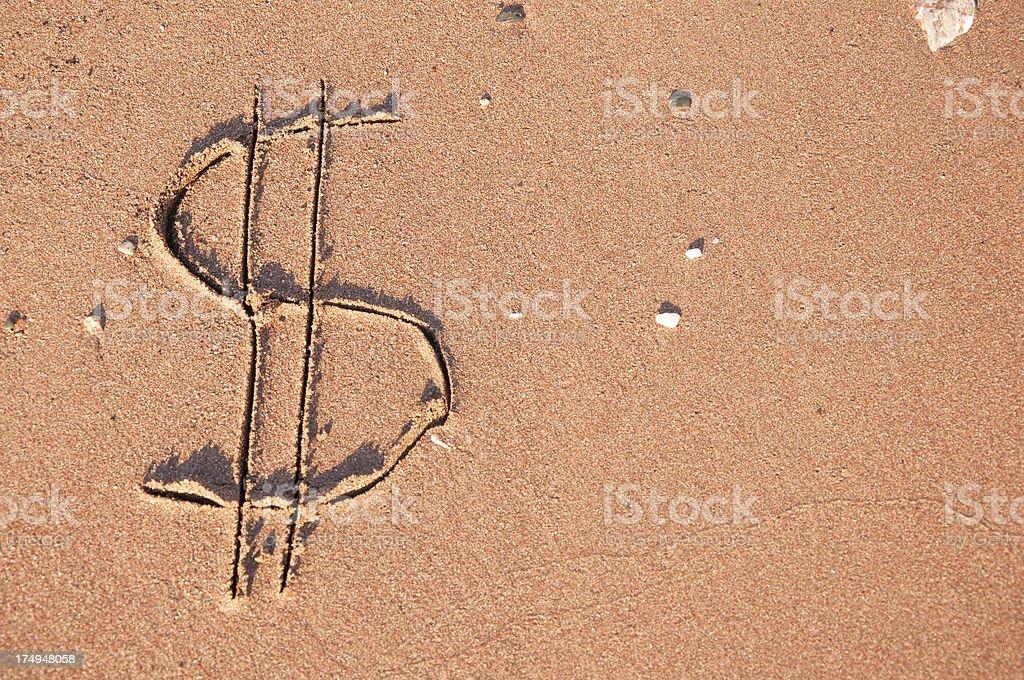 Dollar Symbol on Sand royalty-free stock photo
