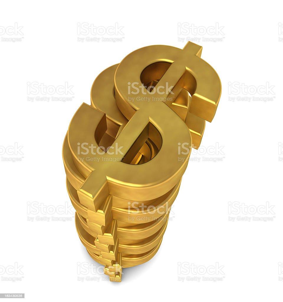 Dollar Symbol Stacking royalty-free stock photo