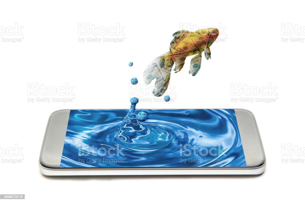 dollar textured goldfish jumping out from smartphone stock photo