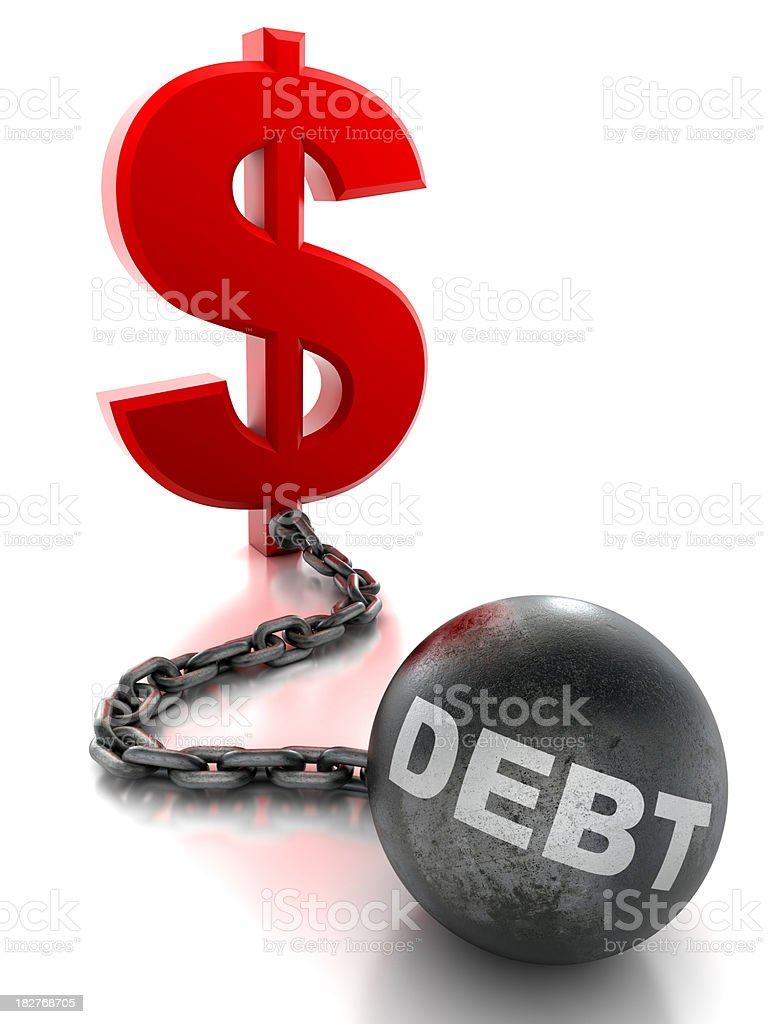 Dollar tied to ball and chain of debt - isolated royalty-free stock photo
