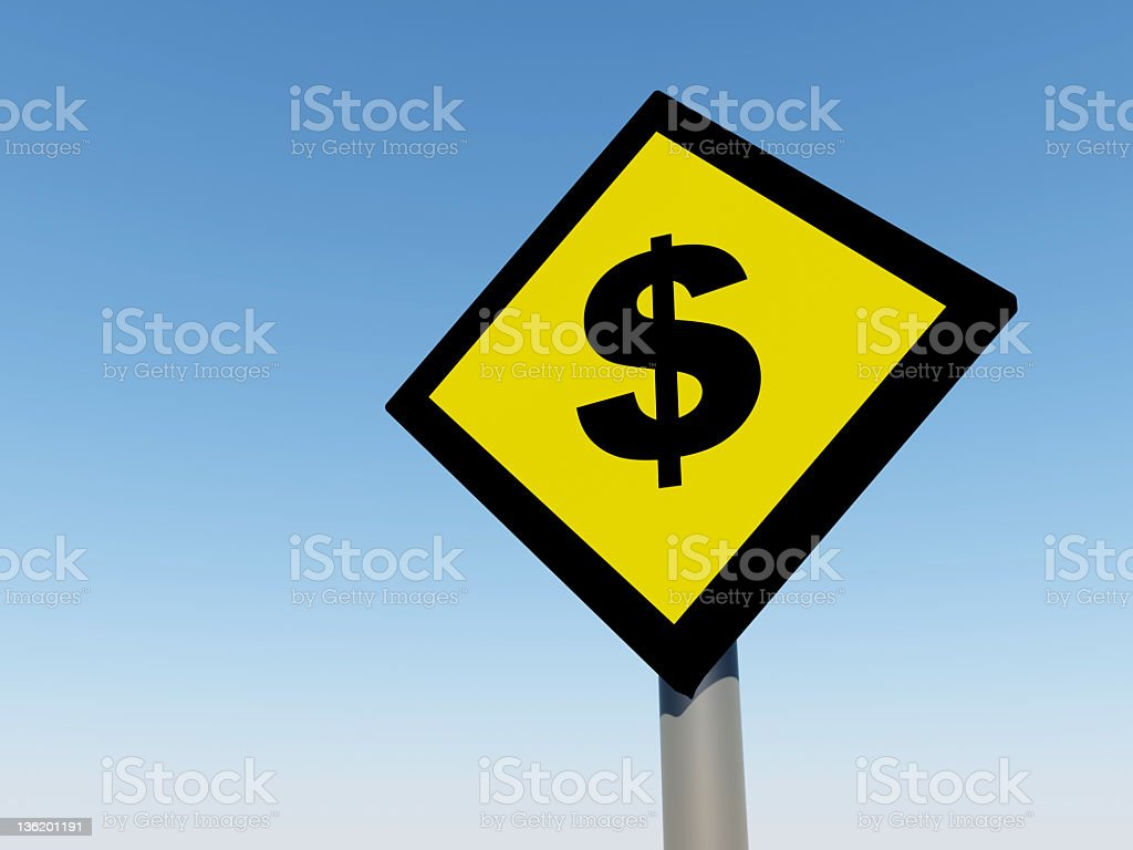 Dollar traffic sign royalty-free stock photo