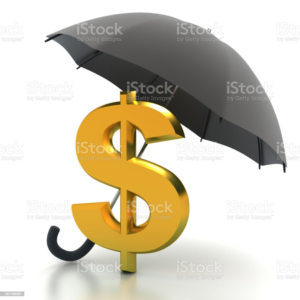Dollar under umbrella - with clipping path royalty-free stock photo