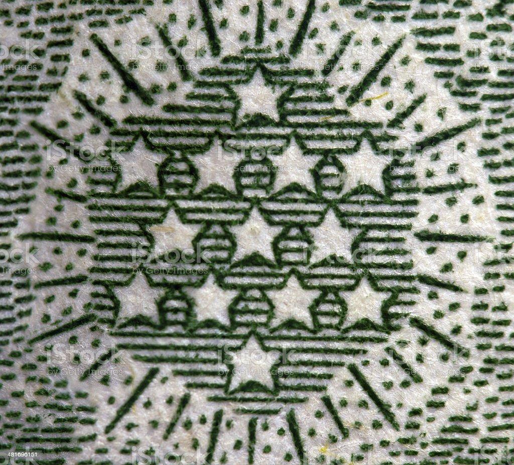 Dollar USA. Stars. Extreme closeup. Macro stock photo