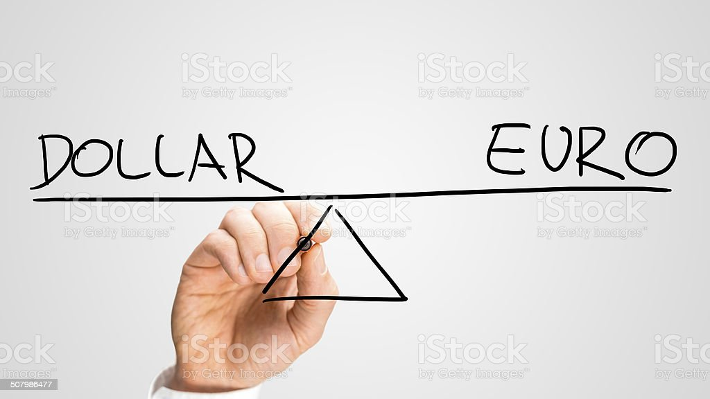 Dollar versus Euro stock photo