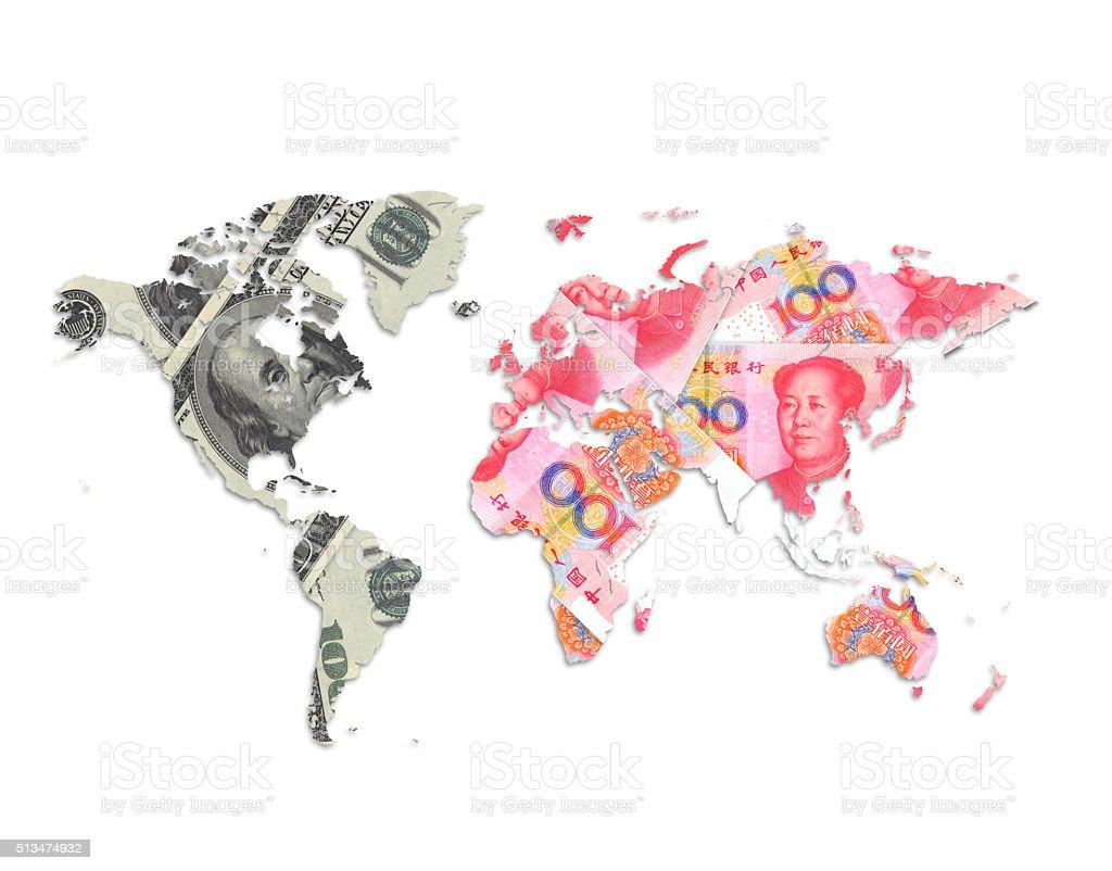 US dollar vs China yuan Currency World Map stock photo