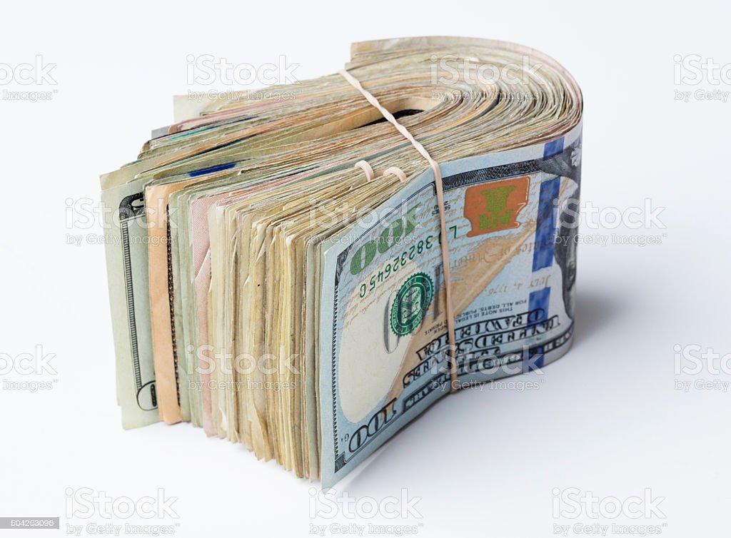 Dollar Wad Bills stock photo
