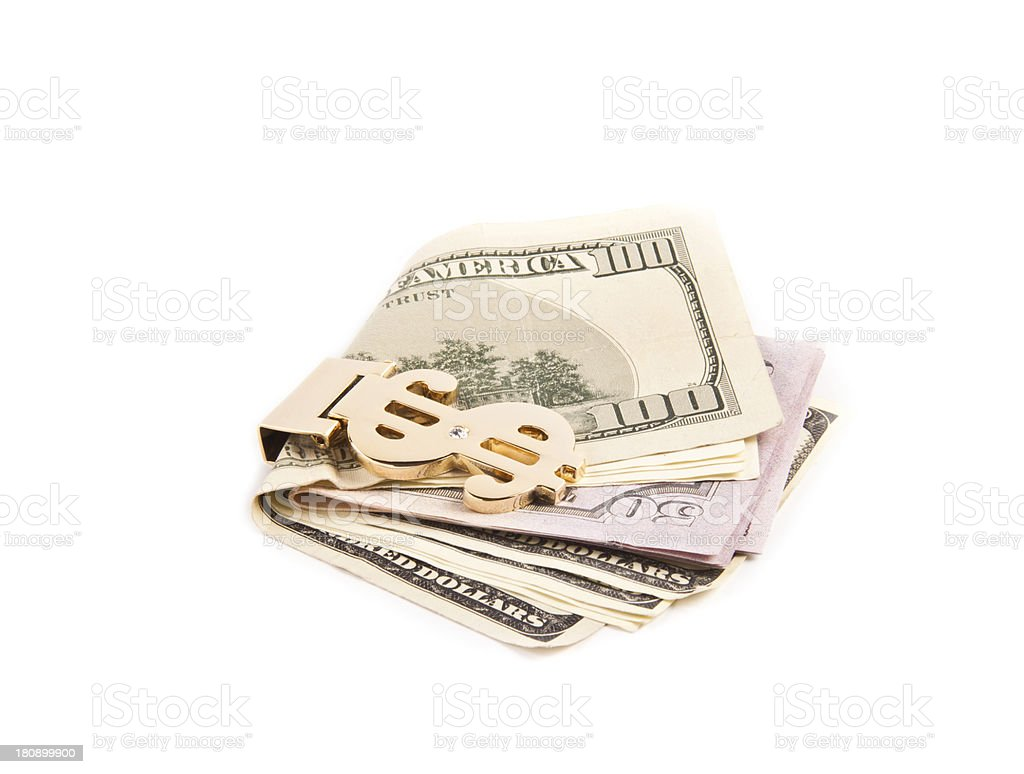 dollar with golden clip royalty-free stock photo