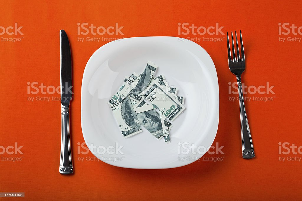 dollar with plate royalty-free stock photo