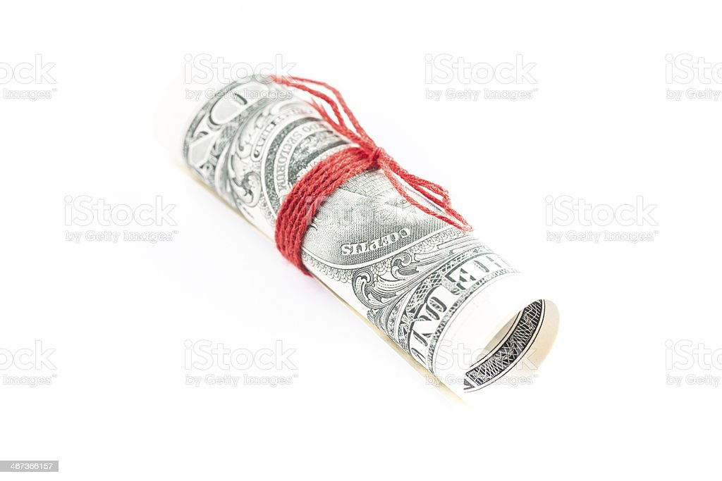 dollar with red string stock photo