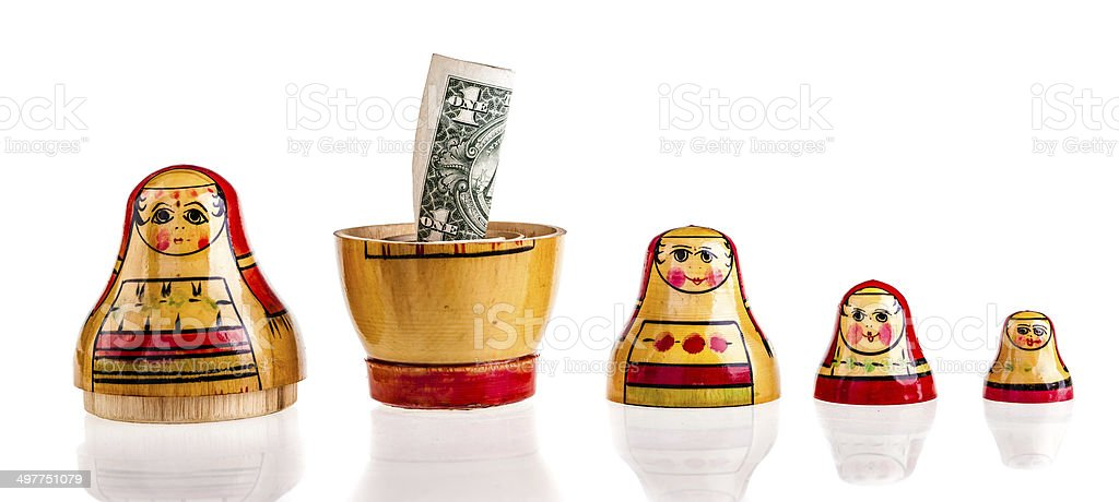 Dollar within Matryoshka royalty-free stock photo