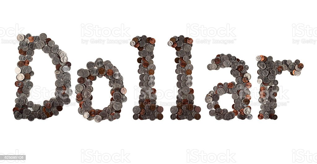 Dollar. Word made of coins. stock photo