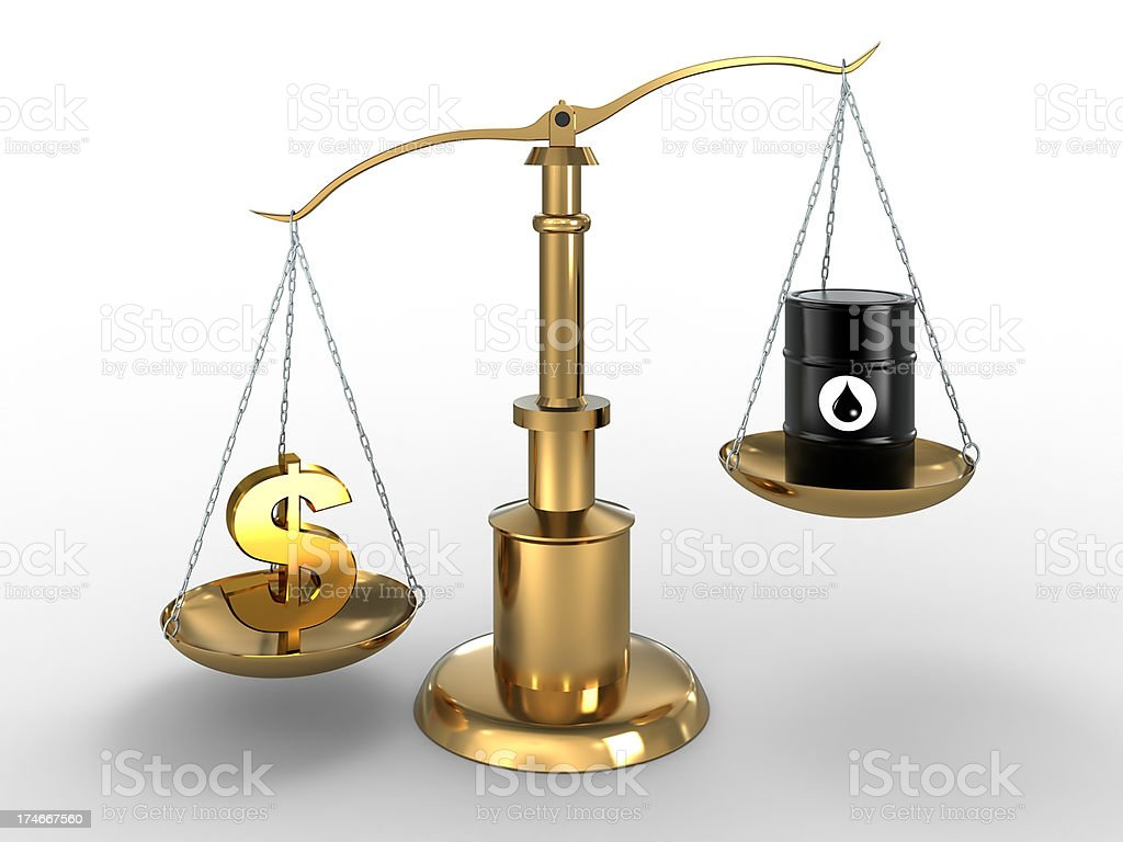 Dollar worth more than Oil on scales (Clipping path included) royalty-free stock photo