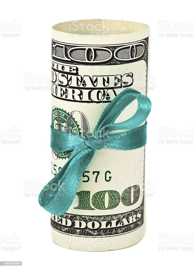 Dollar wrapped by ribbon over white background royalty-free stock photo