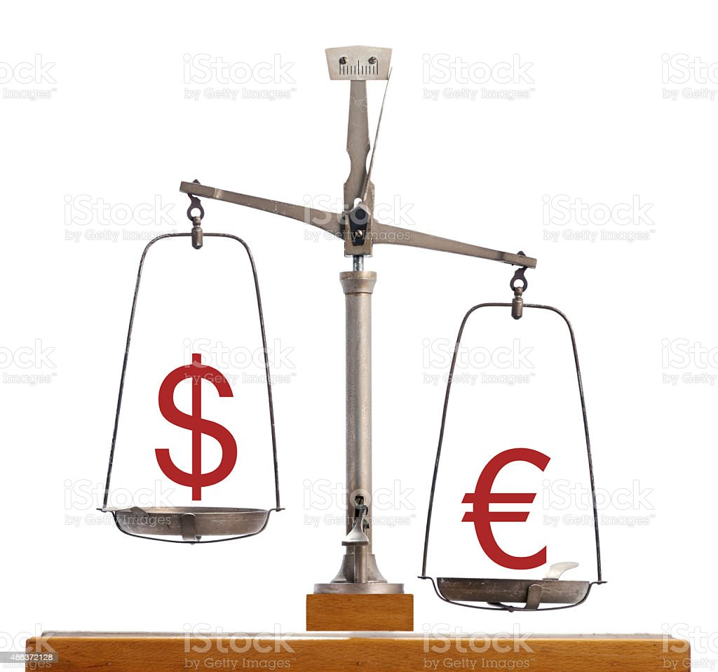 Dollar-Euro currency scale stock photo