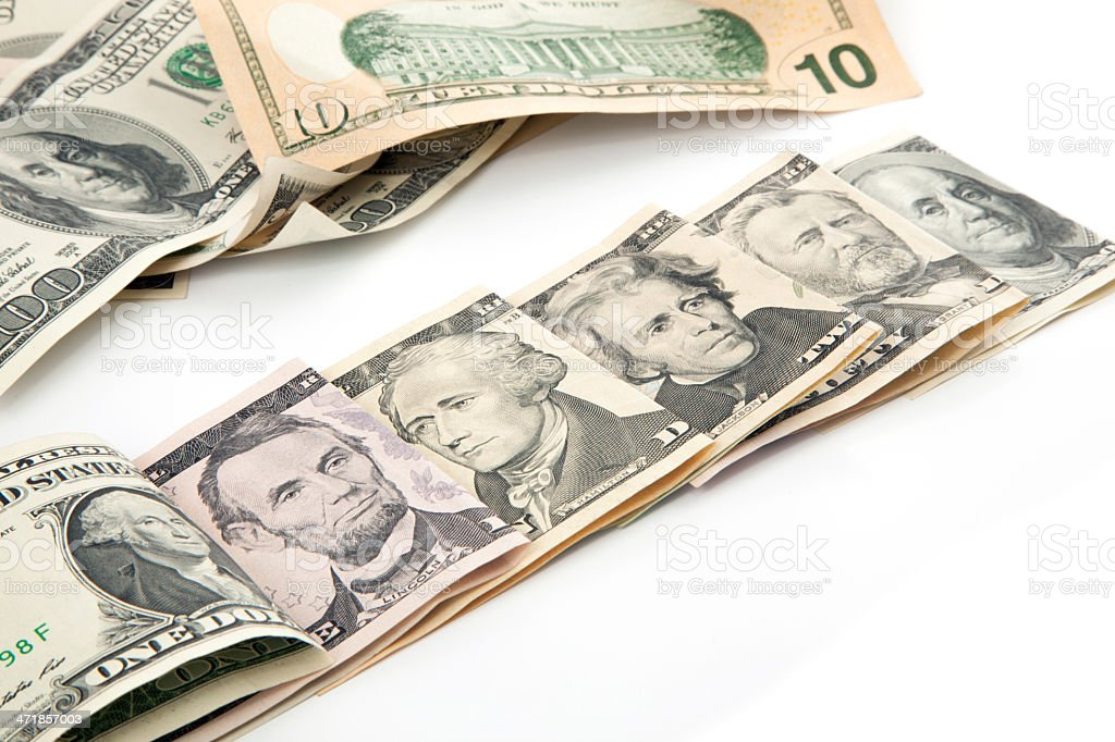 U.S. Dollars all bills currency royalty-free stock photo
