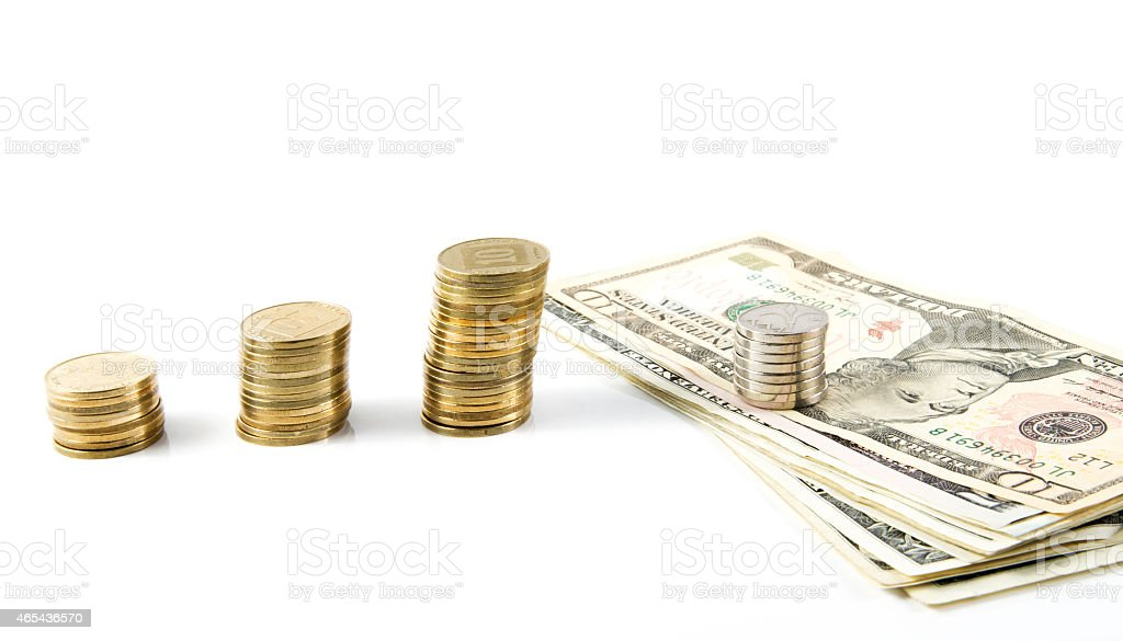 Dollars and shekels. stock photo