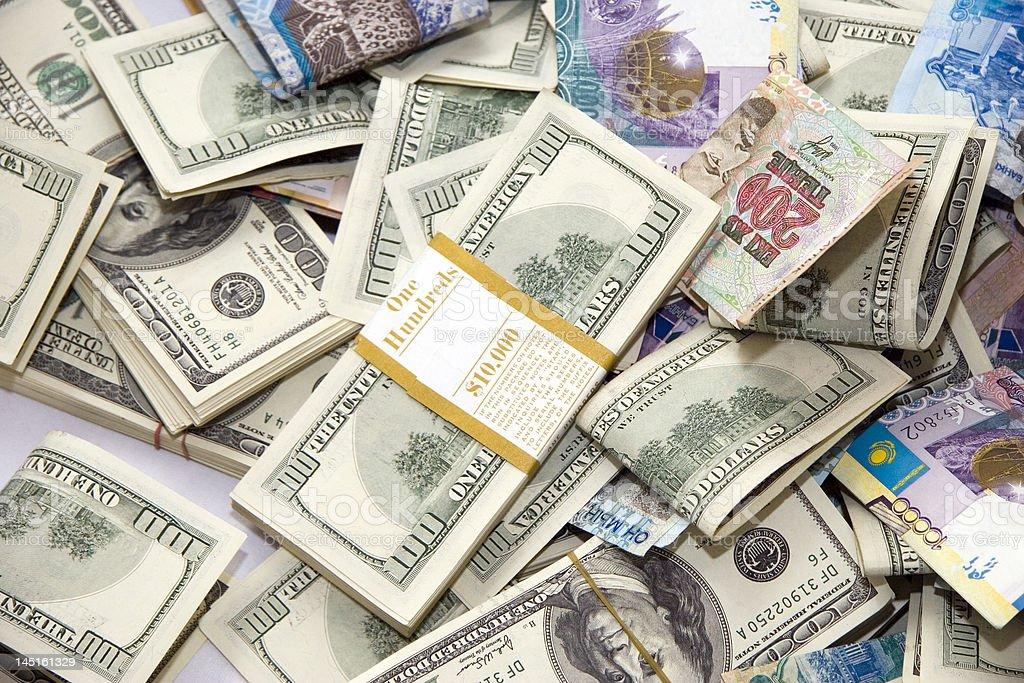 Dollars and tenge royalty-free stock photo