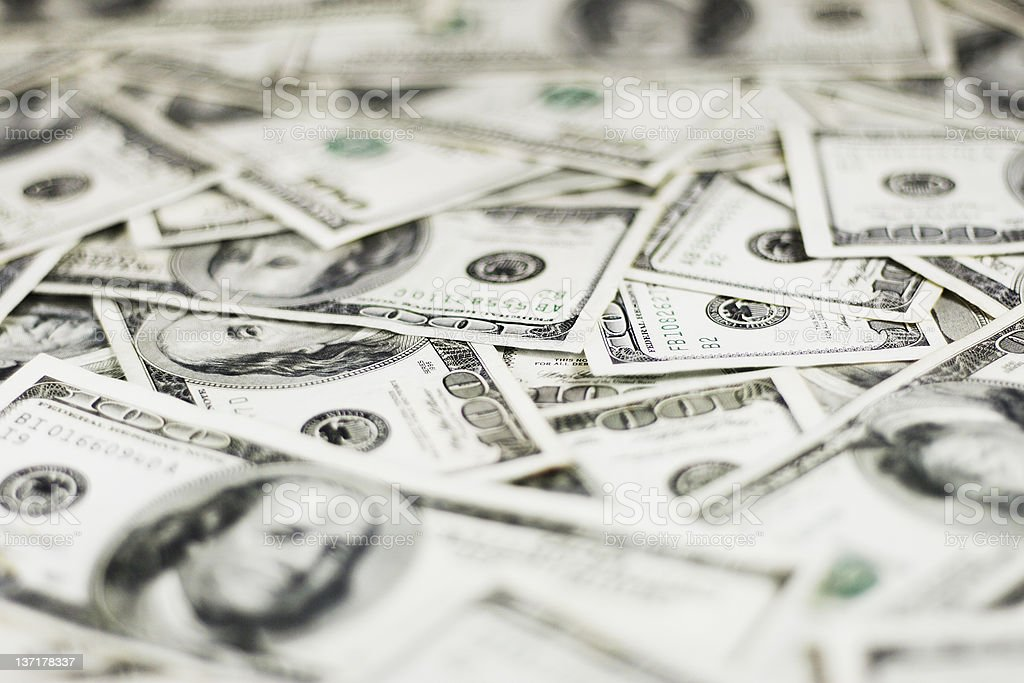 Dollars Background (Shallow DOF) stock photo