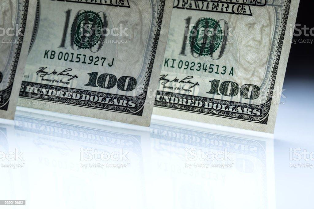 Dollars banknotes. American Dollars Cash Money. One Hundred Dollar Banknotes stock photo