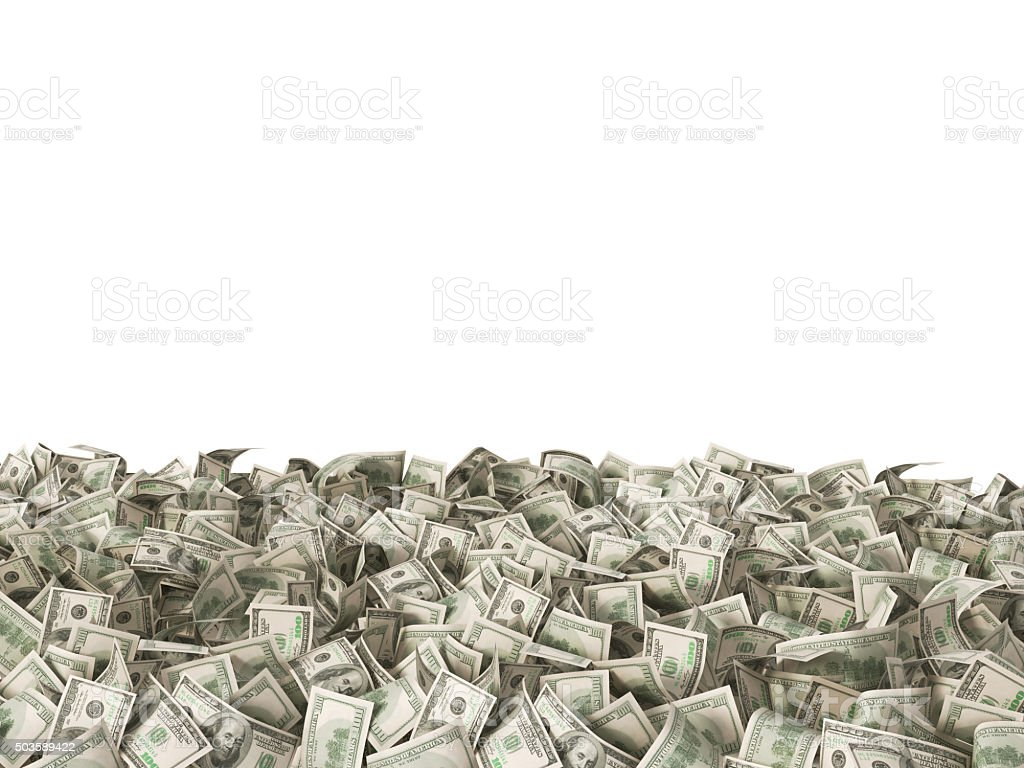 100 dollars banknotes on the ground isolated on white stock photo