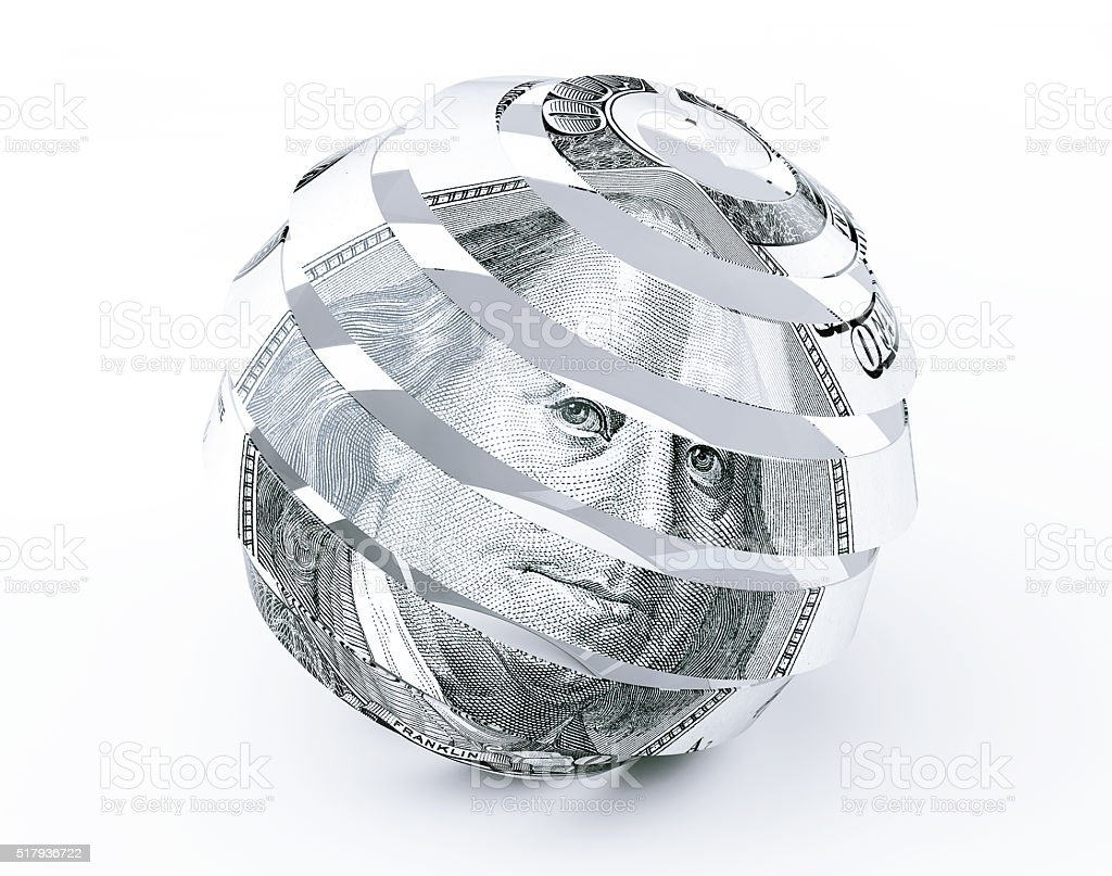Dollars Bill as Abstract Spiral Sphere stock photo