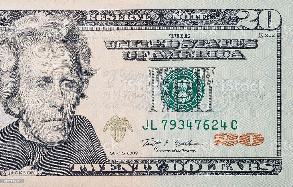 20 dollars bill stock photo