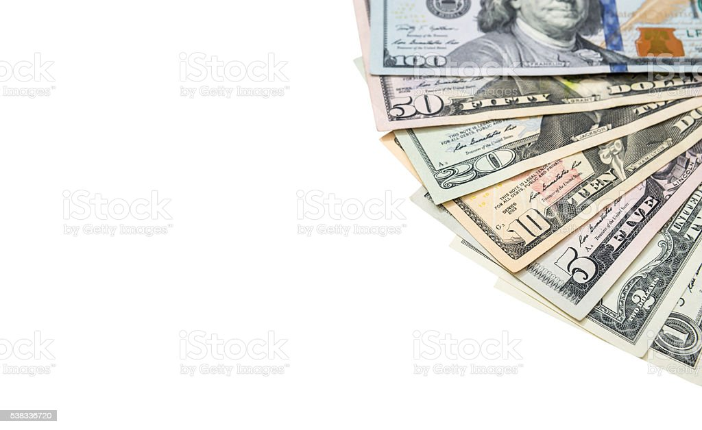 1, 2, 5, 10, 20, 50, 100 dollars bills isolated stock photo