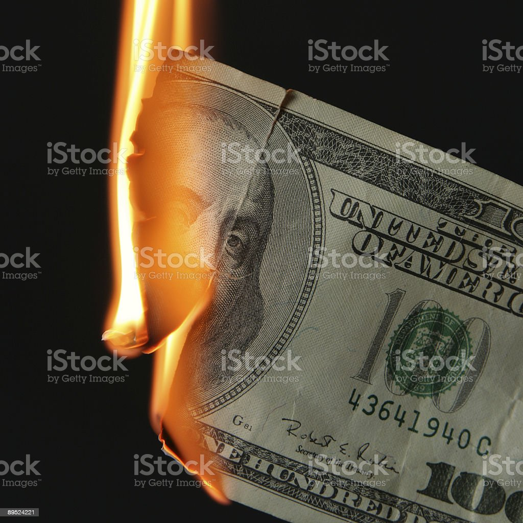 Dollars burn royalty-free stock photo
